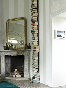 book stack against wall