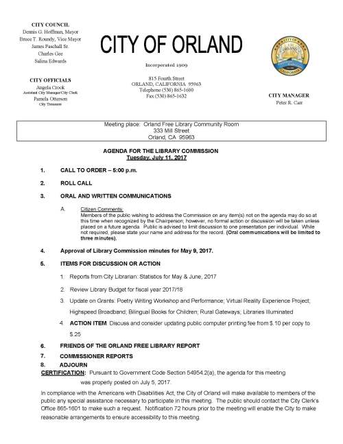 library commission agenda July 11, 2017