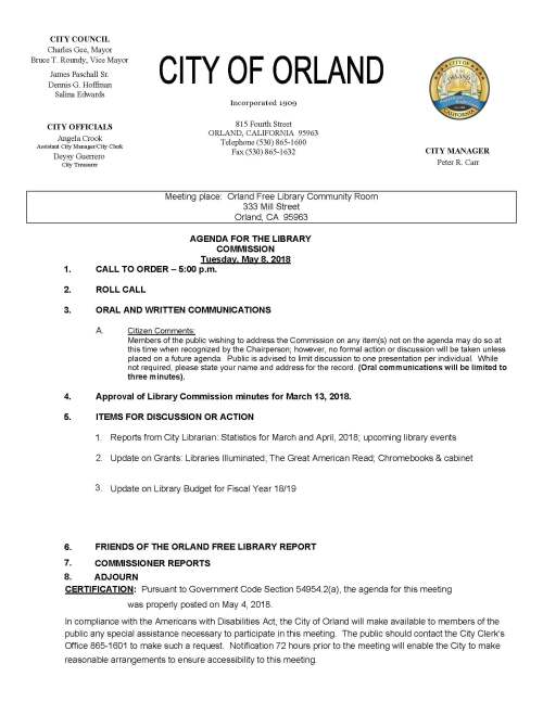 library commission agenda May 8, 2018