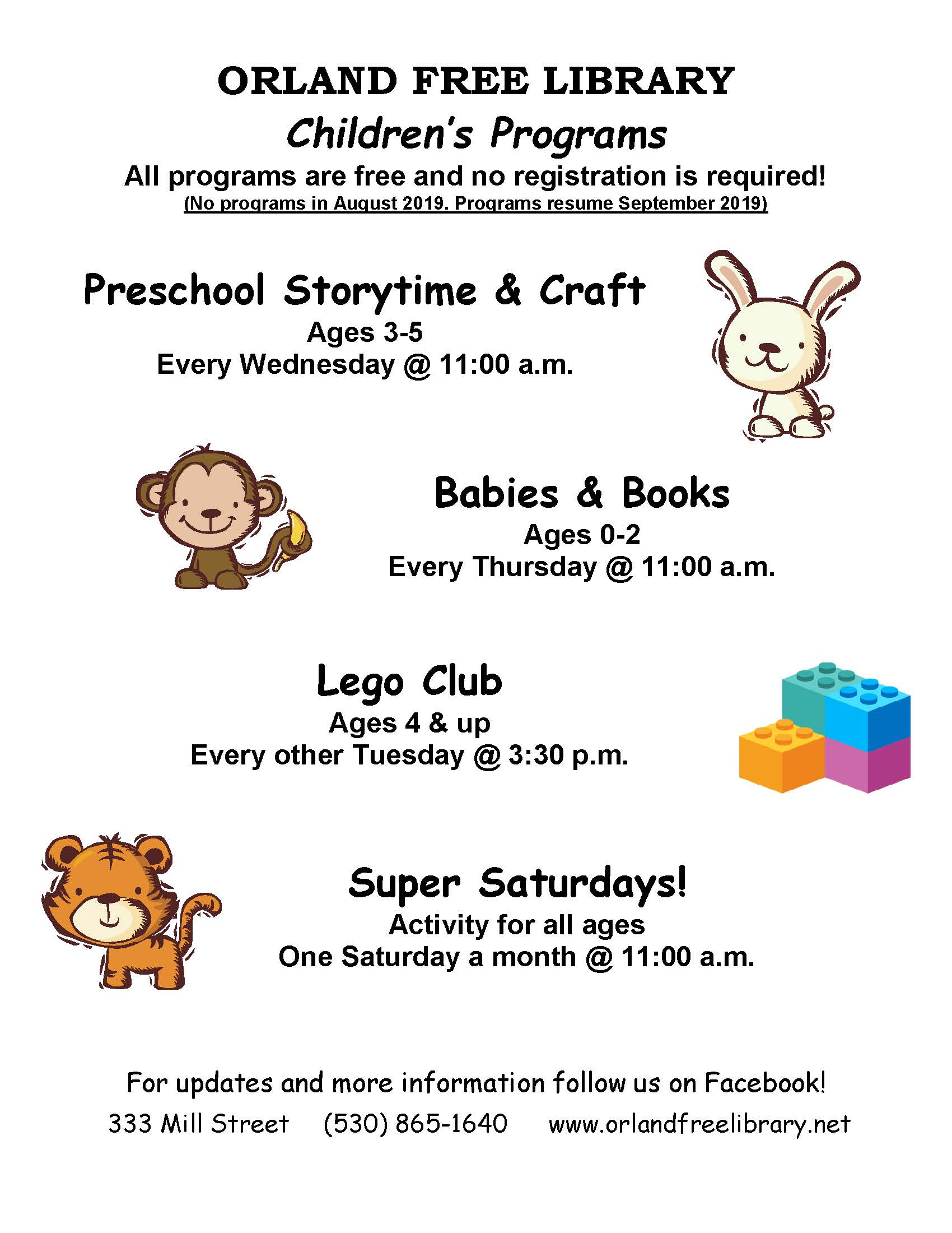 Programs Orland Free Library