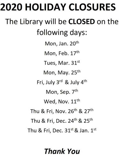 Library Holiday Closures 2020